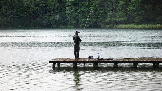 雨の日の釣り画像
